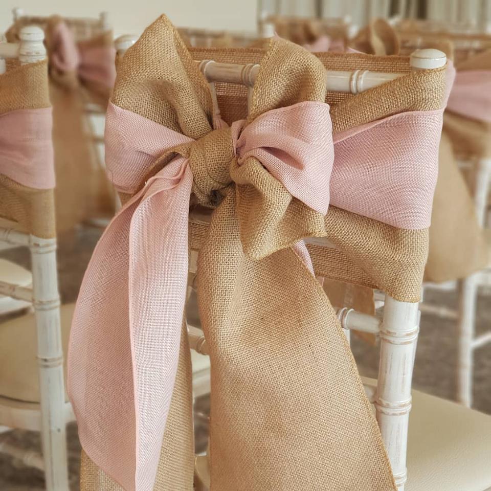 natural hessian blush pink bows