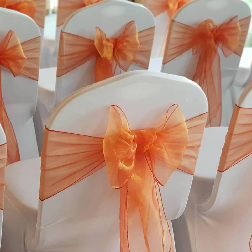 orange sashes chair decor